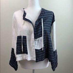 Lauren Vidal linen tie neck color block jacket EUC